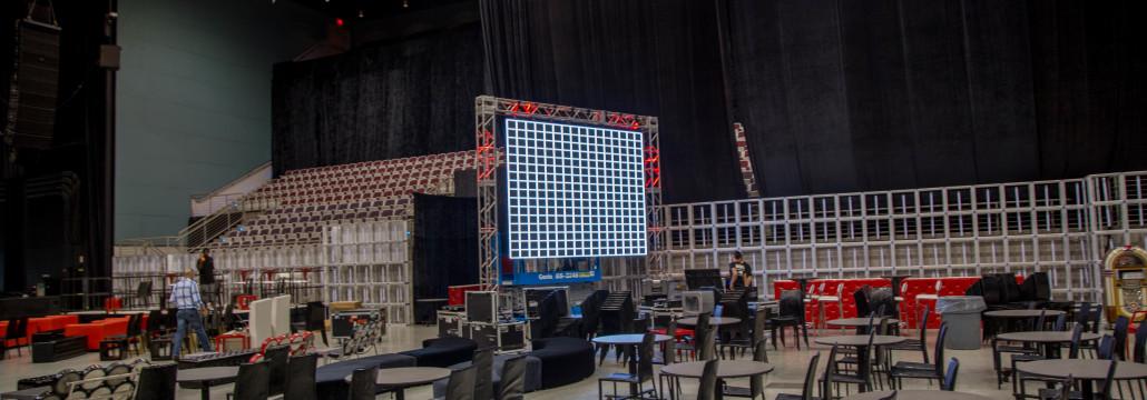 Setting up led walls at the Hard Rock Hotel and Casino Hollywood Florida